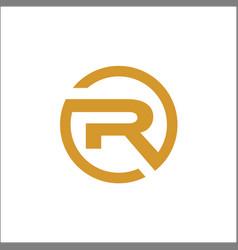 initials r circle logo abstract template gold vector image