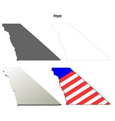 Inyo county california outline map set vector