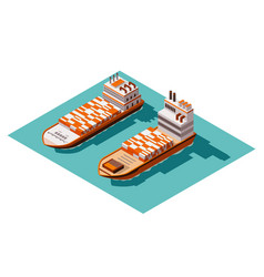 Isometric container cargo ship delivery on water vector