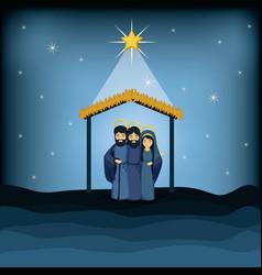 jesus god joseph and mary cartoon design vector image