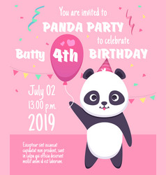 Kids party invitation panda characters greeting vector