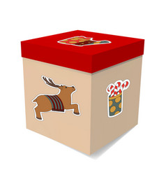 Large gift box for christmas stickers the deer vector