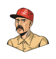 Latino man with mustache and tattoos vector
