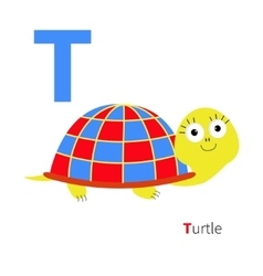 letter t turtle zoo alphabet english abc vector image