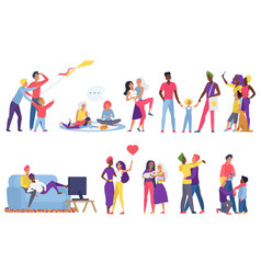 Lgbt couple people flat set vector