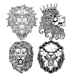 Lion head angry black vector