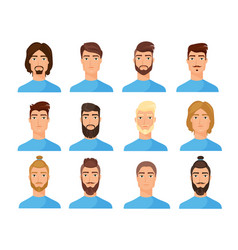 male faces flat set cartoon vector image