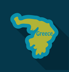 map of greece in flat style with shadow vector image