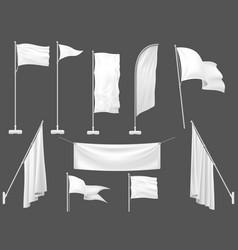 Mockup flag white flags blank canvas banner vector