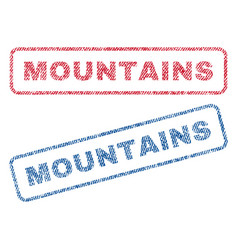 Mountains textile stamps vector