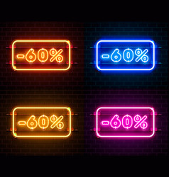 Neon 60 off text banner color set night sign vector