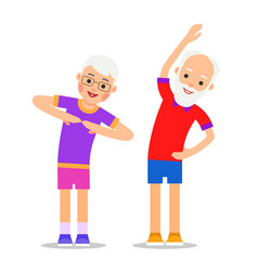 Old people exercising elderly couple does vector