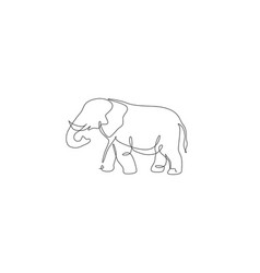 One continuous line drawing giant african vector