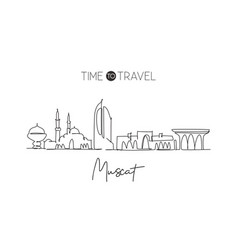 one single line drawing muscat city skyline vector image