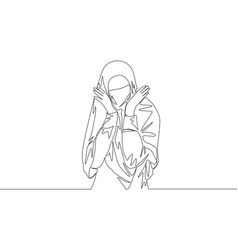 One single line drawing young attractive vector