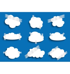 Paper cloud with scotch tape collection vector image