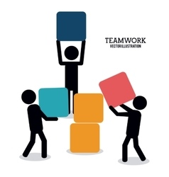 pictogram teamwork support design vector image