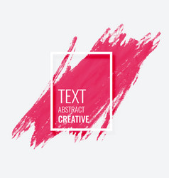 Pink watercolor brush stroke grunge frame banner vector