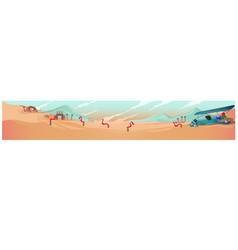 Poster with the desert landscape and the wrecks vector
