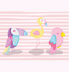 Punchy pastel cute animals cartoons vector