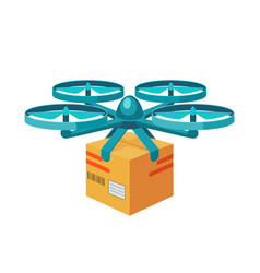Quadcopter icon remote air drone with parcel vector