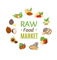 raw food market round design template witch nuts vector image