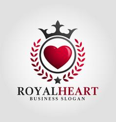 royal heart logo template vector image