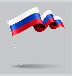 Russian pin wavy flag vector