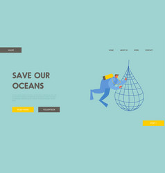 save ocean website landing page diver collecting vector image
