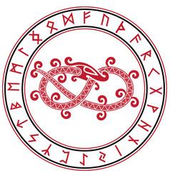 Scandinavian design mythical serpent vector