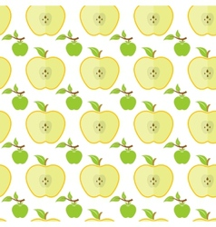 Seamless pattern with big and small green apples vector