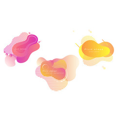 set bright colorful fluid forms liquid design vector image
