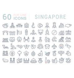 set line icons singapore vector image