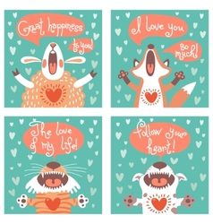 Set of cards with funny animals vector image