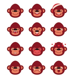 Set smiley monkey isolated on white vector image