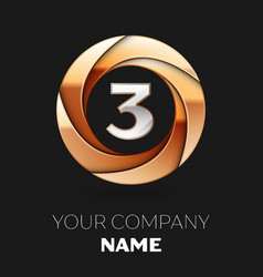 silver number three logo in golden circle shape vector image