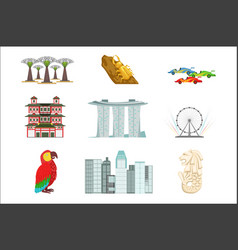 singapore touristic symbols set vector image