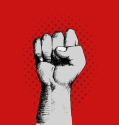 Sketch of a right fist on red background vector