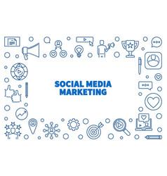 social media marketing outline horizontal vector image