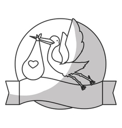 stork holding a bag with a baby vector image