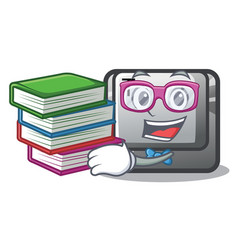 Student with book button t in mascot shape vector