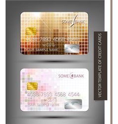 templates credit cards with abstract square patter vector image