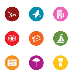 Thematic park icons set flat style vector