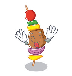 tongue out barbecue character cartoon style vector image