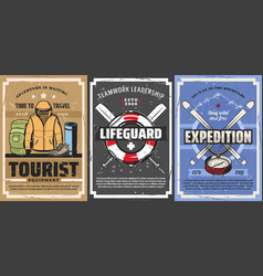 tourist backpack mountain skis lifebuoy travel vector image