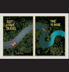Travel posters set bird view a forest river vector