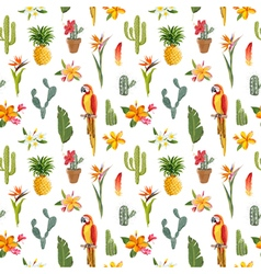 Tropical Background Parrot Bird Cactus Background vector