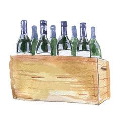 Twelve green wine bottles in wine box vector