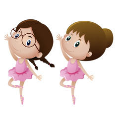 Two girls in ballet outfit dancing vector