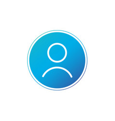 user linear icon in circle button isolated on vector image